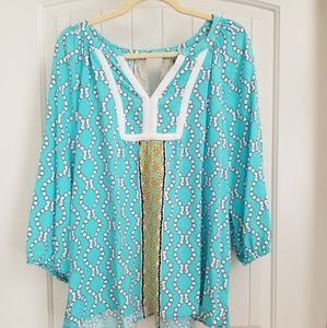 Crown & Ivy xl top, turquoise LIKE NEW